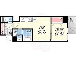 ダブルナインレジデンス西宮 7階1DKの間取り