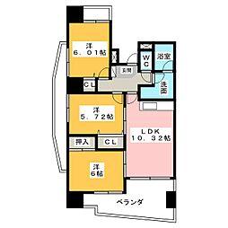 中央ハイツ海老塚[6階]の間取り