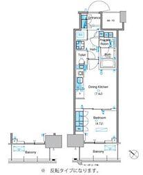 新交通ゆりかもめ 市場前駅 徒歩9分の賃貸マンション 19階1DKの間取り