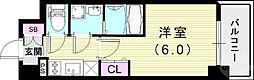 JR山陽本線 兵庫駅 徒歩4分の賃貸マンション 7階1Kの間取り
