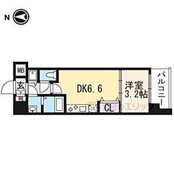 THE GARNET MILLENNIUM KYOTO九条烏丸201 2階1DKの間取り