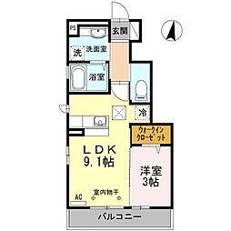 長野県長野市平林1丁目の賃貸アパートの間取り