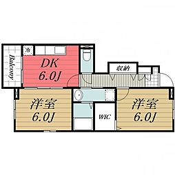JR総武本線 八街駅 バス10分 東吉田下車 徒歩8分の賃貸アパート 1階2DKの間取り