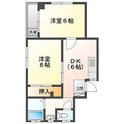 サンパティーク 3階2DKの間取り