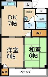 大阪府寝屋川市田井西町の賃貸マンションの間取り