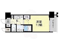 JR大阪環状線 桜ノ宮駅 徒歩3分の賃貸マンション 7階1Kの間取り