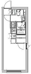 東急池上線 戸越銀座駅 徒歩4分の賃貸マンション 5階ワンルームの間取り