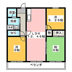 ジャルダン老松 5B号室[5階]の間取り