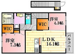 広島県広島市東区戸坂南2丁目の賃貸アパートの間取り