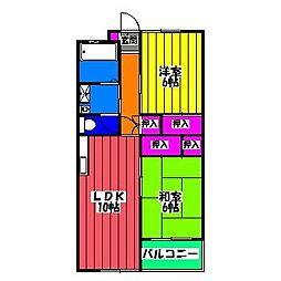 福岡県福岡市博多区板付4の賃貸マンションの間取り