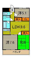 ゼルコーバI[2階]の間取り