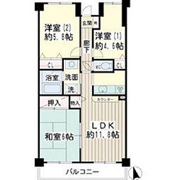 北寺尾大滝マンション[205号室]の間取り