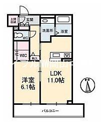 岡山県岡山市中区中井2丁目の賃貸マンションの間取り