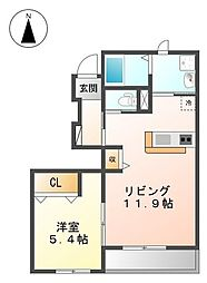レジデンス鶴田[2階]の間取り