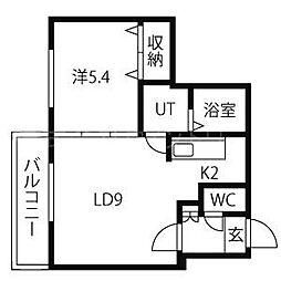北海道札幌市中央区北四条西24丁目の賃貸マンションの間取り
