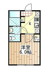 小田急小田原線 鶴川駅 徒歩10分の賃貸アパート 1階1Kの間取り