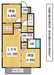 福岡県北九州市八幡西区岸の浦2丁目の賃貸アパートの間取り