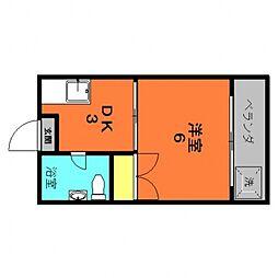 南風アパート 4階1Kの間取り
