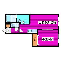 JR学園都市線 あいの里教育大駅 徒歩5分の賃貸マンション 1階1LDKの間取り