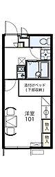 近鉄長野線 川西駅 徒歩6分の賃貸アパート 1階1Kの間取り