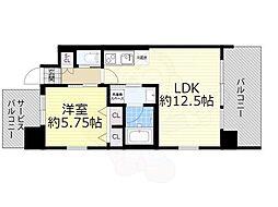 阪急宝塚本線 豊中駅 徒歩4分の賃貸マンション 5階1LDKの間取り