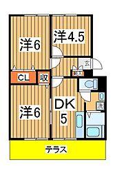 パレドール新松戸[102号室]の間取り