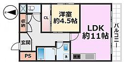 阪下マンション[401号室号室]の間取り