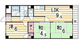大阪府東大阪市新庄2丁目の賃貸マンションの間取り