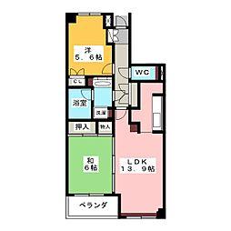 グレーシア横濱西 5階2LDKの間取り