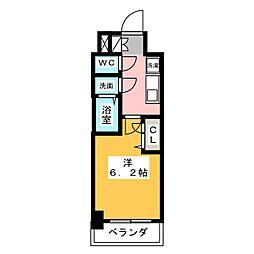メイクス矢場町 11階1Kの間取り