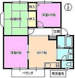長野県長野市川中島町原の賃貸アパートの間取り
