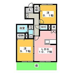 ローズスクエアC[1階]の間取り