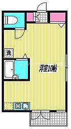 JR中央本線 三鷹駅 徒歩12分の賃貸アパート 2階ワンルームの間取り