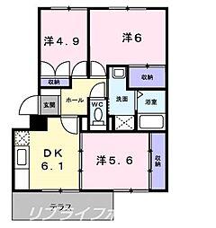 グランディール矢三B[1階]の間取り