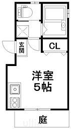 京阪本線 伏見稲荷駅 徒歩1分の賃貸アパート 1階ワンルームの間取り