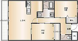 阪急千里線 南千里駅 バス6分 徒歩1分の賃貸マンション 3階2LDKの間取り