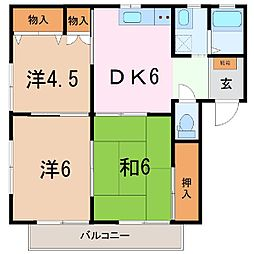 静岡県三島市三島市谷田の賃貸アパートの間取り