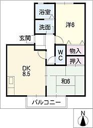 ハマハイツ第6 A棟[2階]の間取り