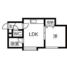 北海道札幌市北区北二十七条西3丁目の賃貸アパートの間取り