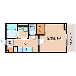 奈良県奈良市白毫寺町の賃貸アパートの間取り