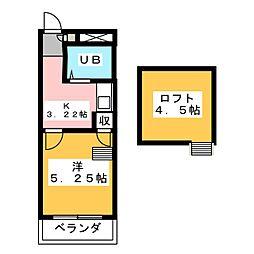 ウイング富塚 2階1Kの間取り