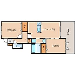 近鉄生駒線 南生駒駅 徒歩6分の賃貸アパート 1階2LDKの間取り