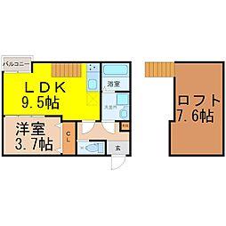 愛知県名古屋市熱田区千代田町の賃貸アパートの間取り