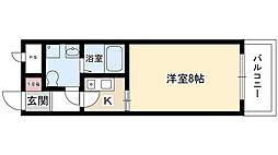 UMEX-9 3階1Kの間取り