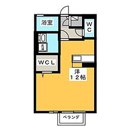 愛知県豊橋市駒形町字丸山の賃貸アパートの間取り