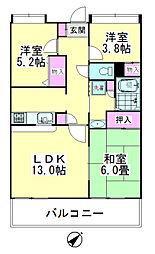 レジデンス花樹[1-104号室]の間取り