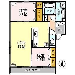 (仮称)D-room熊野町[201号室]の間取り
