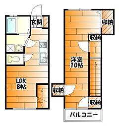 広島電鉄2系統 十日市町駅 徒歩4分の賃貸アパート 1階1LDKの間取り