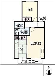 愛知県半田市雁宿町3丁目の賃貸アパートの間取り