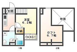 兵庫県神戸市須磨区東町4丁目の賃貸アパートの間取り